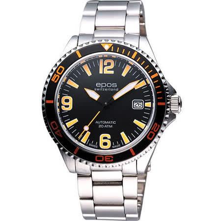 epos 深海探險家200米潛水機械錶-黑/橘 3413.131.92.32.30