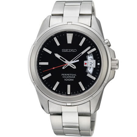 SEIKO 經典萬年曆時尚腕錶(黑鋼帶-6A32-00W0D)