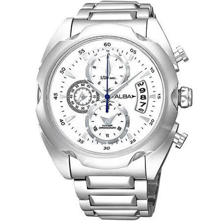 ALBA FLAGSHIP 日魂三眼計時腕錶-白 YM92-X165S