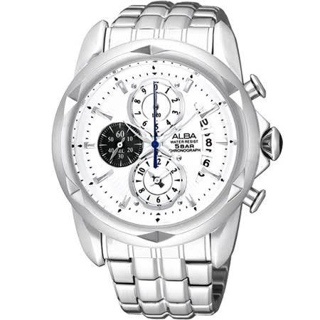 ALBA FLAGSHIP 格鬥天王計時腕錶(YM92-X189S)-銀
