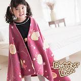 【奶油獅】台灣製造-搖滾星星搖粒絨保暖披肩毯(75X140cm)-棗紅