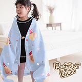 【奶油獅】台灣製造-搖滾星星搖粒絨保暖披肩毯(75X140cm)-水藍