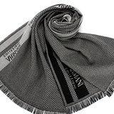 GIORGIO ARMANI 雙色織紋羊毛圍巾-黑/灰
