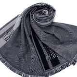 GIORGIO ARMANI 雙色織紋羊毛圍巾-深藍