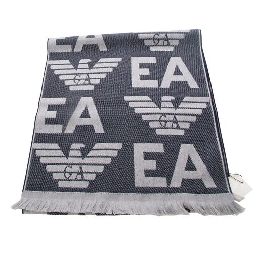 EMPORIO ARMANI 羊毛大字母LOGO雙面雙色圍巾~灰