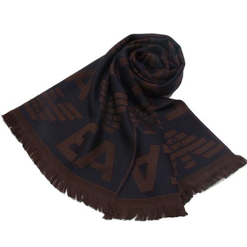 EMPORIO ARMANI 羊毛大字母LOGO雙面雙色圍巾~深藍