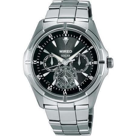 WIRED 太陽能日曆全方位腕錶-黑/銀 V14J-X009D