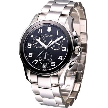 Victorinox 瑞士維氏錶 陶瓷計時腕錶(VISA-241544)黑