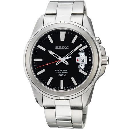 SEIKO CS 尊爵萬年曆時尚腕錶-黑/銀 6A32-00W0D