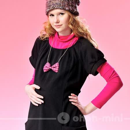 【ohoh-mini孕婦裝】大圓領短袖口袋洋裝