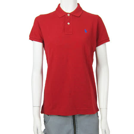 Ralph Lauren  經典LOGO窄版素面POLO女衫(紅)