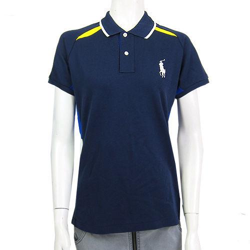 Ralph Lauren  US網球公開賽雙色大馬連肩POLO女衫(深藍)