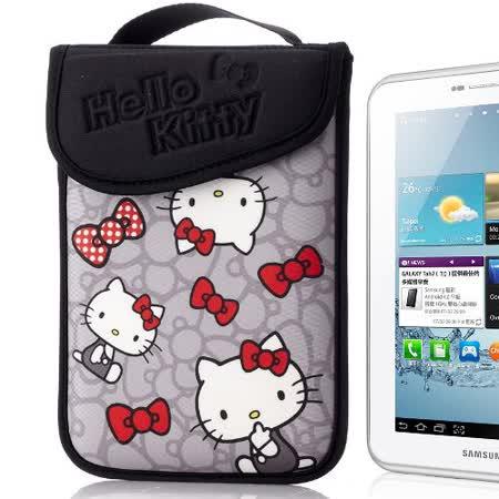 Hello Kitty 7吋平板保護袋(黏扣式)-蝴蝶結灰