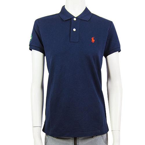 Ralph Lauren US網球公開賽素面小馬POLO女衫(深藍)