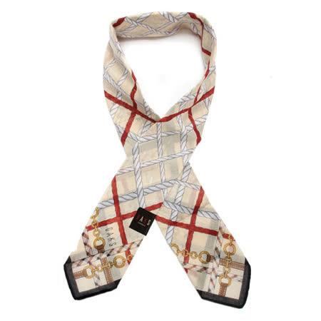DAKS 抗UV鍊繩格紋夏季涼感薄圍巾-米白黑邊