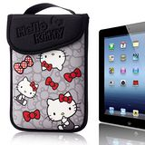 Hello Kitty 10吋平板及小筆電保護袋(黏扣式)-蝴蝶結灰