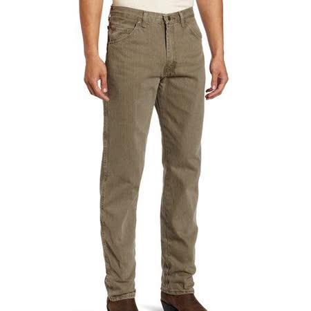 Wrangler 藍哥男品味時尚耐磨橄欖色牛仔褲【預購】