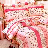 《KOSNEY 粉夢天使 》加大100%活性精梳棉六件式床罩組台灣製