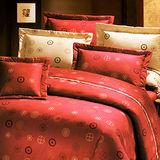 《KOSNEY 招財紅運 》加大100%活性精梳棉六件式床罩組台灣製
