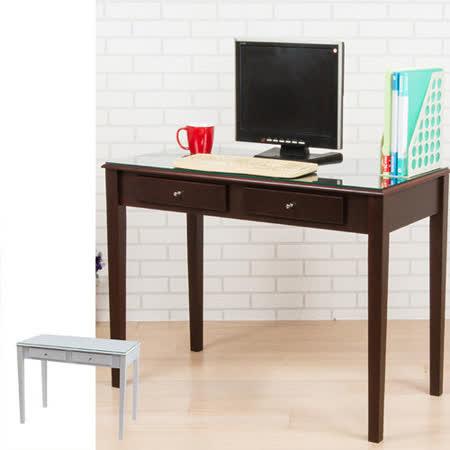 BuyJM 典雅實木腳雙抽強化玻璃書桌(寬100cm)-二色