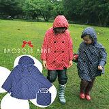 【Amorosa Mama】活力點點。連帽斗篷式兒童風雨衣(亮藍圓點)