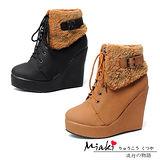 【Miaki】 時尚韓風 扣環翻毛設計楔型踝靴短靴