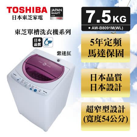 TOSHIBA東芝 7.5公斤單槽洗衣機(AW-B8091M)