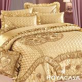 《HOYACASA 玫瑰花語-尊爵金》七件式緞面純棉床罩組