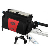 PUSH! 自行車用品 自行車相機包 前置物袋 單肩背包 地圖袋 多用包 贈送防雨罩