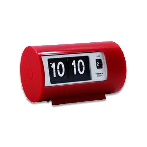 ~TWEMCO~機械式 翻頁鐘 復古收藏 圓筒 鬧鐘 ^(AP~28 紅色^)