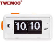 【TWEMCO】機械式 翻頁鐘 復古收藏 方形鬧鐘夜燈功能 (AL-30 白色)