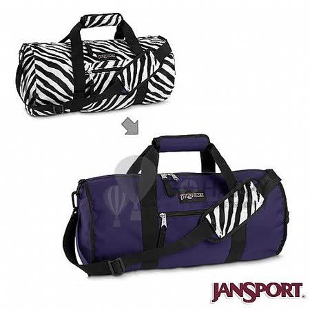 Jansport 21L 校園雙面翻轉側背包(紫/斑馬紋)