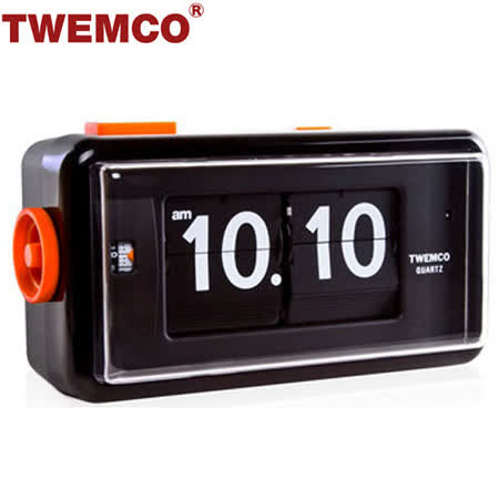 【TWEMCO】機械式 翻頁鐘 復古收藏 方形鬧鐘夜燈功能 (AL-30 黑色)