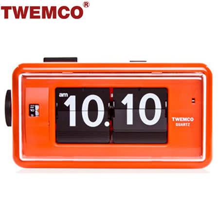 【TWEMCO】機械式 翻頁鐘 復古收藏 方形鬧鐘夜燈功能 (AL-30 橘色)