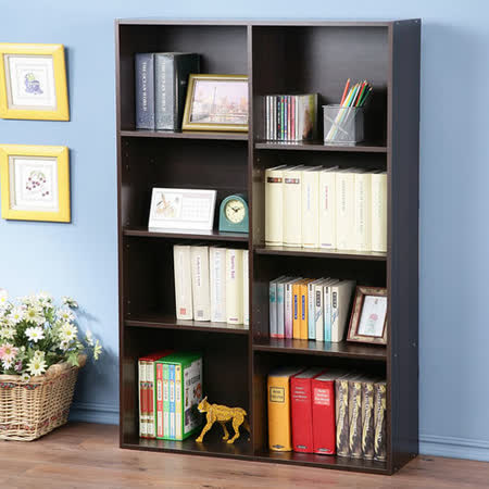 Homelike 簡約八格收納書櫃(胡桃色)