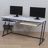《BuyJM》凱特附電線孔雙鍵盤Z型工作桌-寬160cm