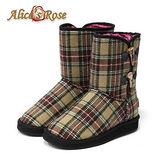 Alice's Rose英倫學院風格紋牛角扣雪靴-卡其色