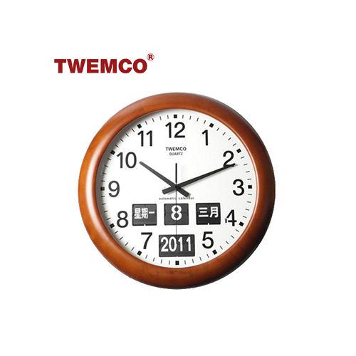 ~TWEMCO~復古收藏 圓型翻頁鐘BQ~368 中文日期 原木 壁掛式