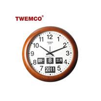【TWEMCO】復古收藏 圓型翻頁鐘BQ-368 中文日期 原木材質壁掛式