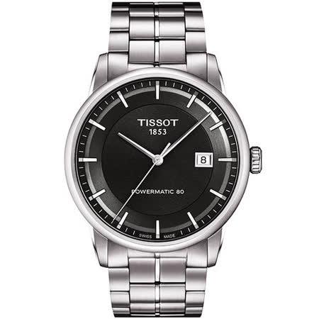 TISSOT T-Classic Luxury 機械腕錶-鐵灰/銀 T0864071106100