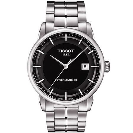 TISSOT T-Classic Luxury 機械腕錶-黑/銀 T0864071105100