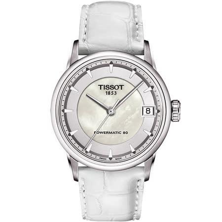 TISSOT T-Classic Luxury 機械腕錶-珍珠貝/白 T0862071611100