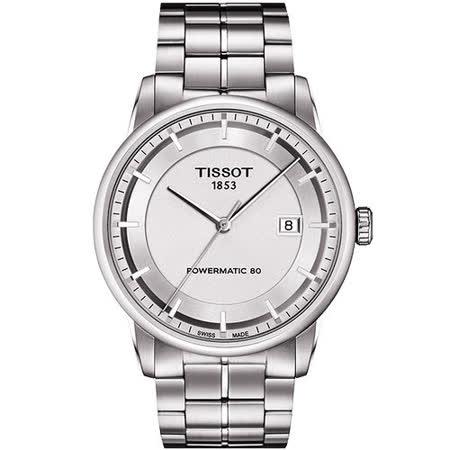 TISSOT T-Classic Luxury 機械腕錶-銀 T0864071103100