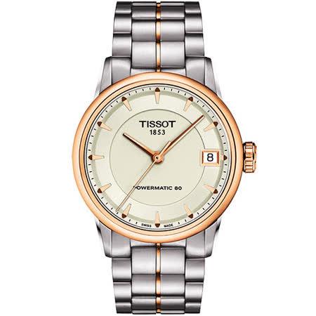 TISSOT T-Classic Luxury 機械腕錶-銀/玫塊金 T0862072226101