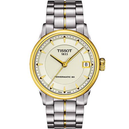 TISSOT T-Classic Luxury 機械腕錶-銀/半金 T0862072226100
