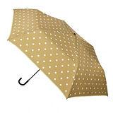 【w.p.c.】微甜圓點*晴雨兩用彎把手開三摺傘(卡其)