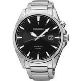 SEIKO Kinetic 急速爭霸人動電能腕錶-黑/銀 5M62-0DB0D