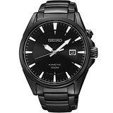 SEIKO Kinetic 急速爭霸人動電能腕錶-IP黑 5M62-0DB0SD
