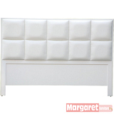 Margaret-宮廷格紋雙人5尺床頭片(白色)