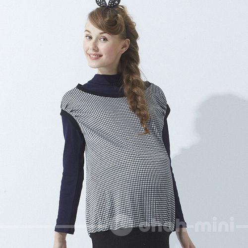 【ohoh-mini】流行時尚細格紋長版孕婦上衣